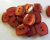17 Burgundy Puffed Retangle Buttons Size 1/2""