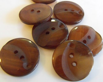 7 Brown Indented Round Buttons Size 7/8""