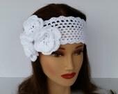 Boho Chic Flower Headband-Bohemian Style Head Wrap-Teen Fashion Ear Warmer-Womens Shabby Chic Head Band-Girls Flower Headband