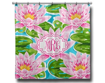 "Custom Personalized Monogram Shower Curtain - You Choose Size , 70"" x 70"", 70"" x 90"", or ANY size LP Inspired Flowers"