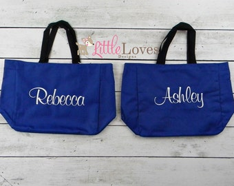 8 Personalized Bridesmaids Gift Tote Bags- Monogrammed Tote-  Bridal Party Gift