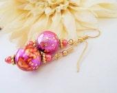 Pink Watercolor Earrings, Handpainted Earrings, Rose Gold, Carnation Pink, Pink Pearl Earrings, Whimsical, Fashion, Pink Beaded Earrings