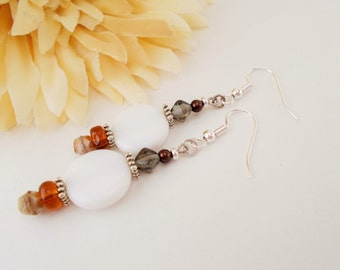 White Beaded Earrings, Sterling Silver, Bohemian Earrings, Amber Earrings, Gray Earrings, Clip On Earrings, Boho Jewelry, Sensitive Earrings