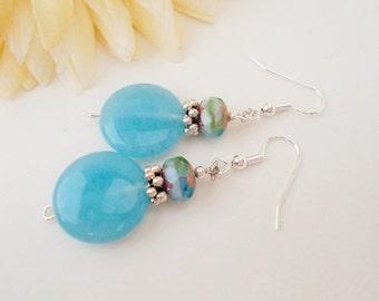 Aqua Chalcedony Earrings, Clip On Earrings, Sky Blue Beaded Earrings, Blue Gemstone Earrings, Birthstone Jewelry, Birthday Gift for Mother