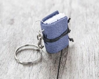 Book keychain, leather keychain, miniature book charm, book lover, literature jewelry, key accessory, women men keychain, leather journal