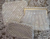 Lot of 3 Vintage White Beaded Purses Evening Bags
