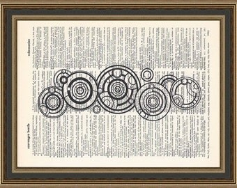 Doctor Who's Name in Gallifreyan printed on a vintage dictionary page. Dr Who Poster, Whovian Print,Gallifrey Poster Print, Dorm Decor.