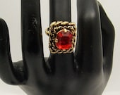 Vintage Red Rhinestone Ring