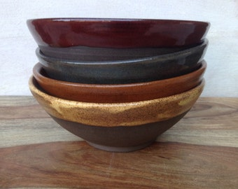 Handmade Ceramic Bowls Pottery Bolw Set of 4 Dark Brown Clay Multi-Colors