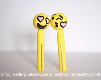 Emoji Wedding Cake Topper - Emoji Couple - Handmade Emojis Figurines