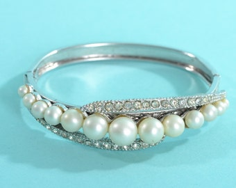 Vintage 1950s Rhinestone Wedding Bracelet - Faux Pearl Hinged Bangle - 1960s Bridal Fashions