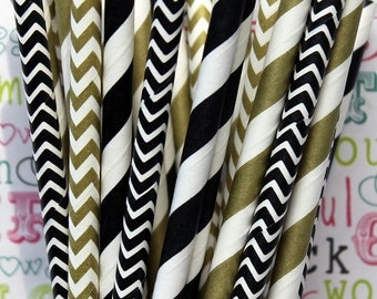 100 Black and Gold Metallic Party Straws, Black and Gold Wedding Straws, with DIY Flag Template
