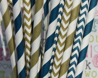 50 Gold and Navy Paper Party Straws, Navy and Gold Wedding Straws, Wedding Favors, Drinking Straws, Nautical Party Straws