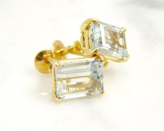 Vintage Art Deco Natural Aquamarine Earrings Emerald-cut Gemstones 18k Yellow Gold/ Screw Back