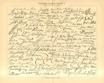 1902 Signatures or Autographs of Famous Writers Vintage Engraving Print
