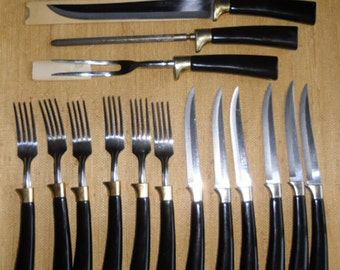 Vintage Cutlery - Real-Keen Carving Set, 6 Knives, 6 Forks, Black Bakelite Handles, Stainless Steel, Made in the USA