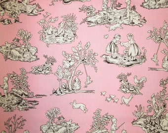 "Michael Miller Kid's Toile Pink Brown fabric 1 yard 31""  Last piece - out of print"