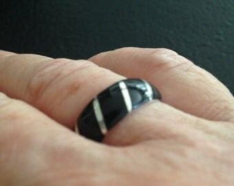 Sterling Silver Style Ring with Black Onyx