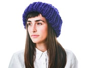 Huge Knit Hat, Electric Blue Merino Wool