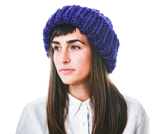 Huge Knit Hat, Electric Blue- Purple Merino Wool