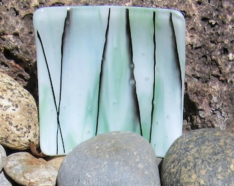 Fused Glass Dish, Summer Glass Plate, Streaky Light Green and White With Black Streamers, Mint Green Glass Plate