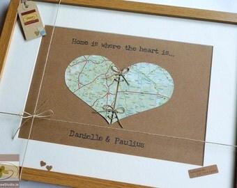 Personalised House-Warming Keepsake - Framed Love Heart  - Custom Anniversary or New Home Gift - Map of Love - Handmade in Ireland