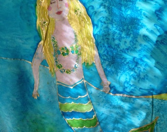 """Handpainted Silk """"The Mermaids House"""" by The Silk Maid"""