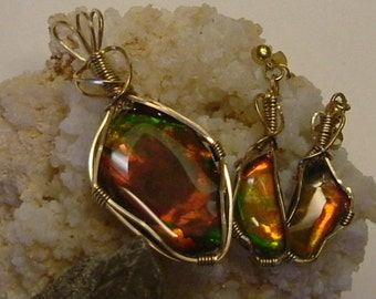 Bright Red, Green, Gold Color Fire High Grade Gem Quality Ammolite from Utah Deposit Gold Filled Wire Wrapped Pendant and Earrings Set 385
