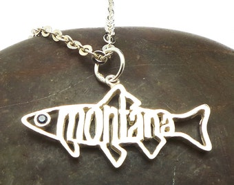 Montana Trout Fish Necklace with Sapphire Blue - 925 Silver Montana State Necklace - Souvenir, montana gift item, montana girls