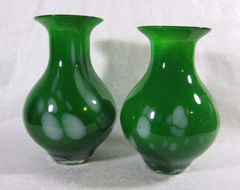 "Green Art Glass Vases - 9.5"" White Cased oil drop - hand blown - Mid Century"