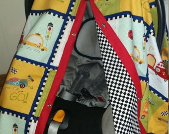 Carseat Cover Race Car REVERSIBLE