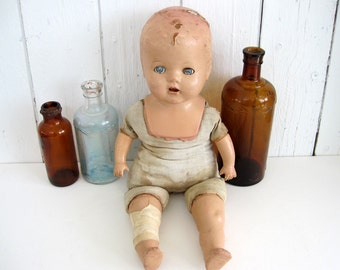 Antique Composition Doll Sleepy Blue Eyes 20 inch Farmhouse Rustic Shabby Chic Decor Restoration Parts Photo Prop
