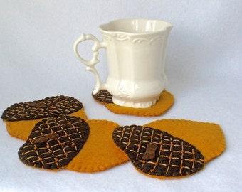Felt Acorn Coasters,  Fall Decor, Hostess Gift,  Harvest Coasters,  Autumn Table,  Thanksgiving MugMats Set of Four