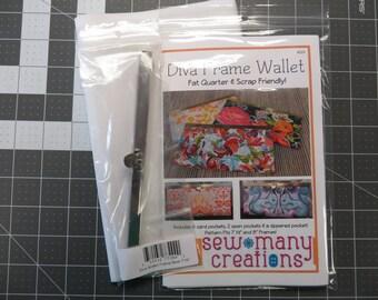 Diva Frame Wallet Kit - Includes Pattern, SILVER Frame & Interfacing