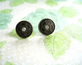 Bronze Mental Button Earrings, Bronze Color Round Earring, Bronze Metal Button Stud