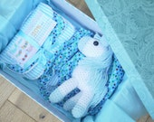 New baby boy gift hamper, blue baby shower gift set, burp cloths, diaper cover, Baby boy Christmas Gift, Boy Christening. Personalized gift.