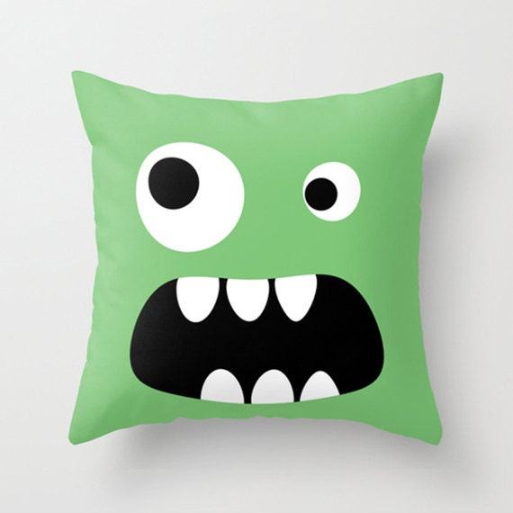 Throw Pillow Cover Green Monster -  Choose your Color - 16x16, 18x18, 20x20 - Nursery Original Design Home Décor by Adidit