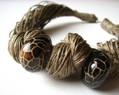 Ceramic  Brown - linen necklace