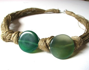 Agate Olive - linen necklace