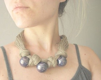 Ceramic Blue - linen necklace