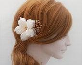 Pure Silk Bridal Hair Flower, Gold Bridal Hair Fascinator, Gold Bridal Hair Piece, Champagne Swarovski Crystal Hair Accessory Cherry Blossom