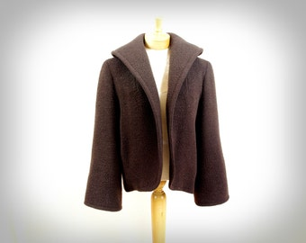 SALE Vintage 60s Coat / 1960s Coat / Chocolate Brown Coat / Brushed Cotton / Boucle Coat /Mod Coat / Brown Jacket / Swing Coat