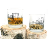 Locomotive Engine Blueprints - Set of Two Small Tumblers - Train Themed Whiskey Glasses