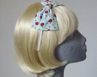 Blue Headband, Blue Bow Headband, Pale Blue-Red Apple Bow Headband, Blue Bow Aliceband, Blue Hair Bow, Blue Hair Accessories