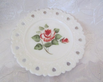 Vintage Hand Painted Rose Milk Glass Plate Scalloped Edge, Open Edge