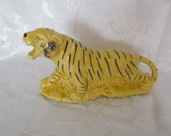 Vintage  Cameron Clay Products Roaring Tiger Planter | Yellow Black Pottery | Retro | Kitsch | Mid Century
