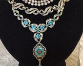Dazzling Vintage Assemblage Clear and Aquamarine Rhinestone, Glass Pearls, Sterling Enamel Guilloche, 2 Strand Pendant Necklace.