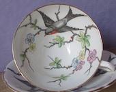 Vintage 1950's Bird tea cup and saucer, Stanley Swallows tea cup, English tea cup, Hand painted tea cup, Bone china teacup, Antique teacup