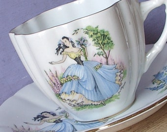 Vintage 1950's Victorian woman teacup and saucer, Windsor tea cup, English tea cup, Bone china teacup, Shabby chic, Gift for Southern Belle