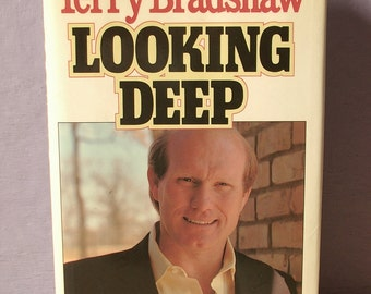 Vintage Looking Deep, 1989, Terry Bradshaw autobiography, Pittsburgh Steelers book, Sports history book, Football book, Black and gold